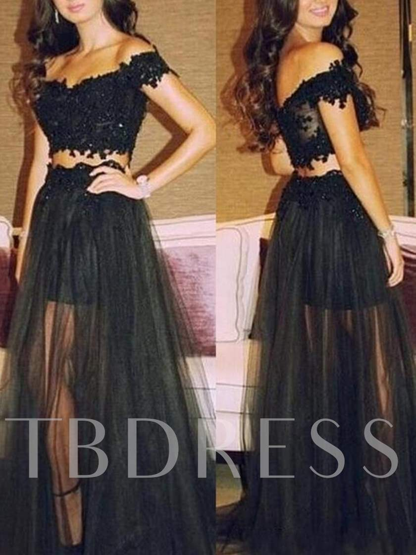 Off-the-Shoulder Appliques Two Pieces Prom Dress