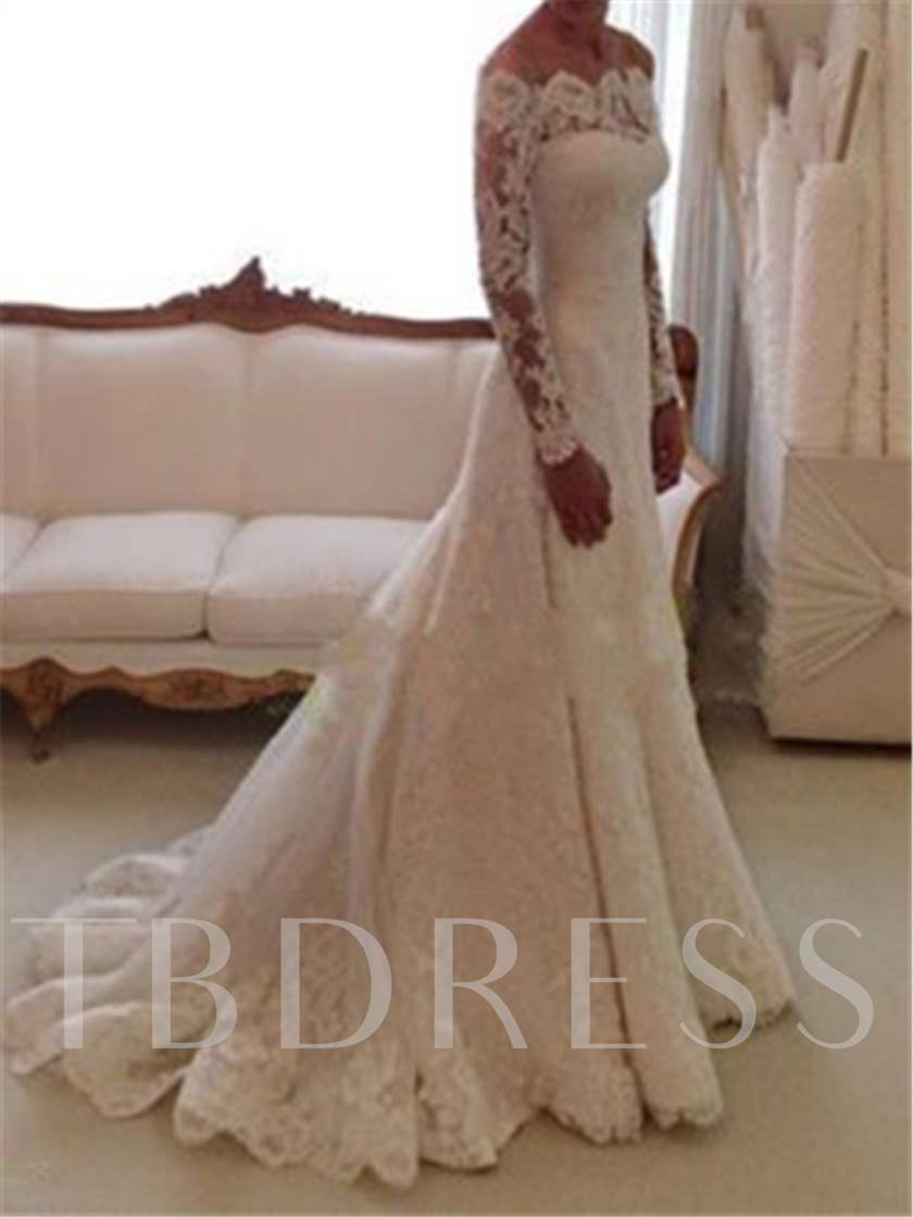 Off the Shoulder Lace Long Sleeve Wedding Dress