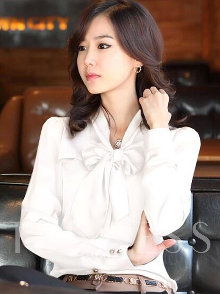 Bowknot Slim Fit Stand Collar Women's Blouse