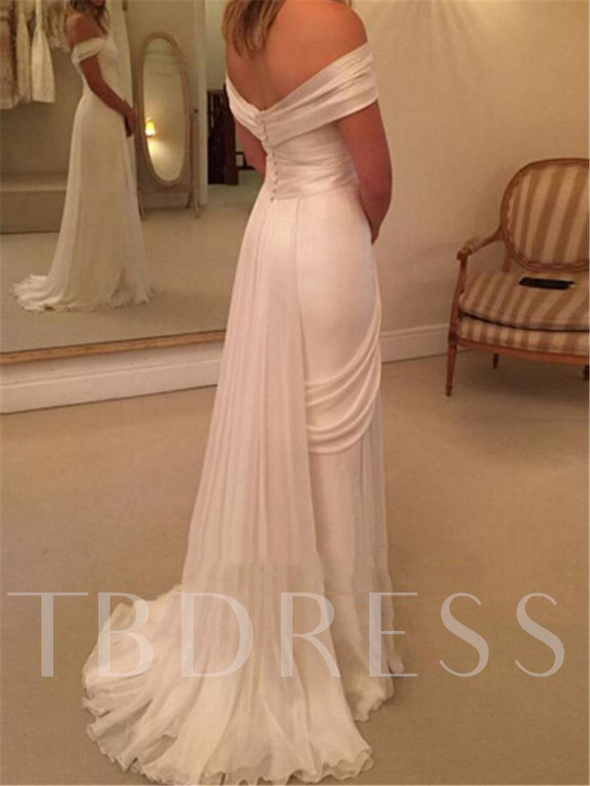 Off-The-Shoulder Split-Front Ruched Beach Wedding Dress