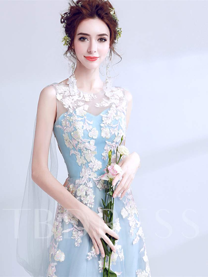 A-Line Scoop Embroidery Pearls Prom Dress