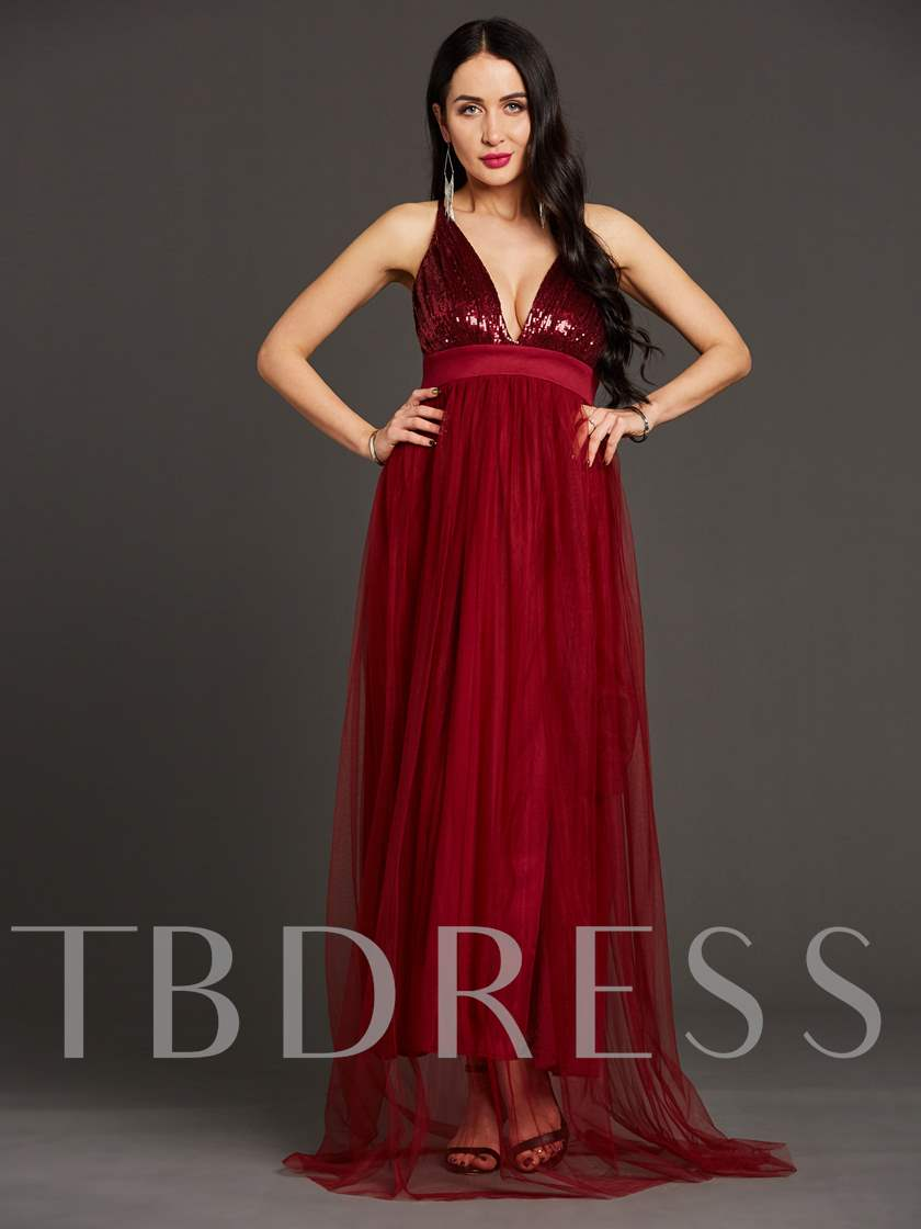 Burgundy Backless Sequins Women's Maxi Dress