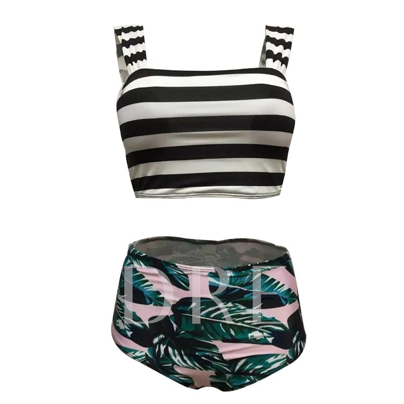 Stripe Leaf Print Women's Bikini Set