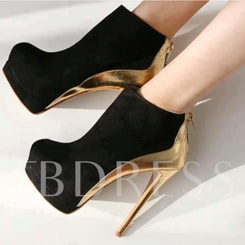 Platform Suede Patchwork Ultra High Heel Women's Booties