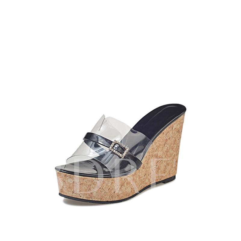 Buy Slip On Patchwork Wedge Heel Flip Flop, Spring,Summer, 13151167 for $37.99 in TBDress store