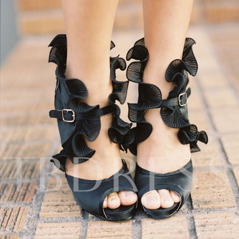Peep Toe Buckle Ruffles Black High Heels for Women