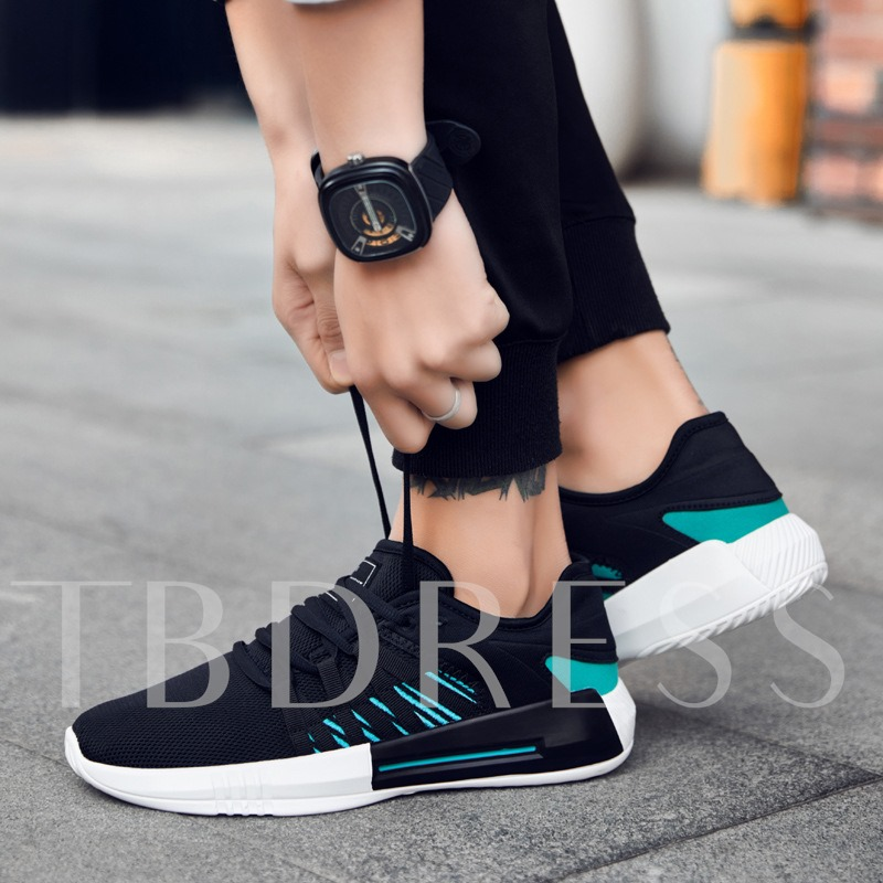 Contract Color Mesh Tie Up Men's Breathable Shoes