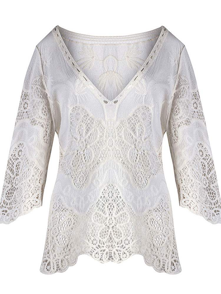 White Deep V-Neck Hollow Cover-Up