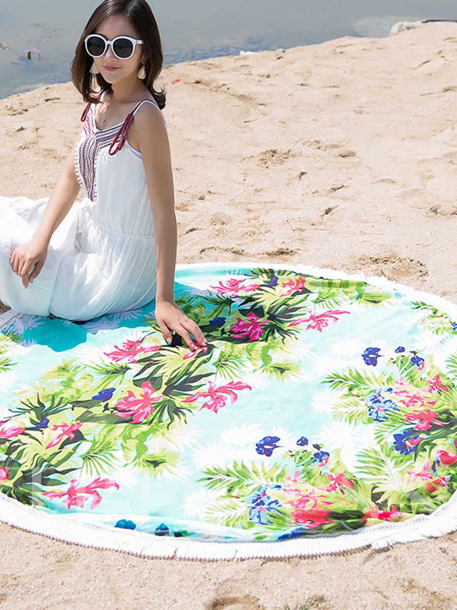 Print Tassel Round Beach Throw