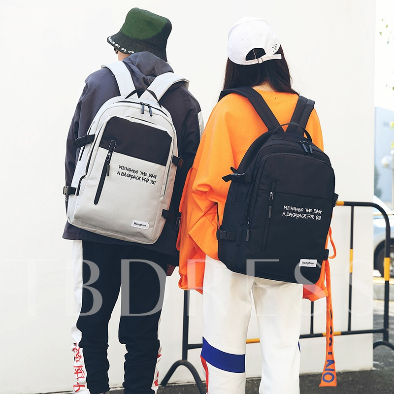 Simple Color Block Oxford Backpack