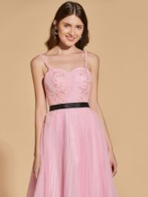 Beading A-Line Sashes Pleats Appliques Prom Dress