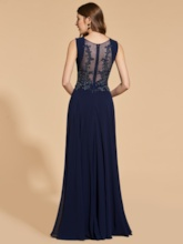 Appliques Beading Button Scoop Prom Dress