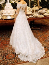 Vintage Appliques Lace Wedding Dress with Long Sleeve
