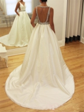 Court Train Beading Pockets Open Back Wedding Dress