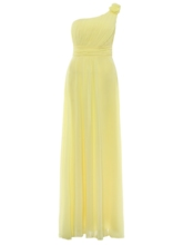 Flower One-Shoulder Pleated Chiffon A-Line Evening Dress