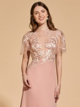 A-Line Scoop Button Lace Prom Dress