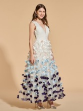 A-Line Appliques V-Neck Prom Dress