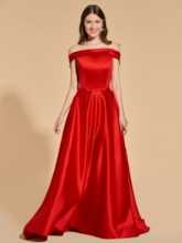 A-Line Cap Sleeves Off-the-Shoulder Empire Prom Dress