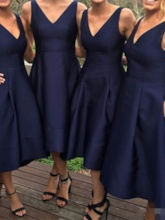 Sleeveless V-Neck A-Line Asymmetry Bridesmaid Dress
