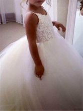 Spaghetti Straps Appliques Ball Gown Flower Girl Dress