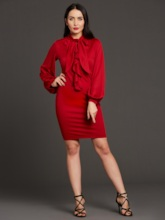 Burgundy Lantern Sleeve Women's Bodycon Dress