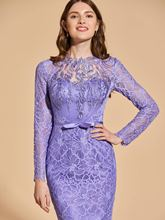 Lace Bowknot Button Long Sleeves Cocktail Dress