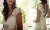 Empire Waist Beading Boho Lace Beach Wedding Dress
