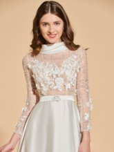 A-Line High Neck Beading Bowknot Button Lace Prom Dress