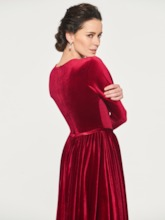 Velvet Tea-Length Mother of the Bride Dress with Sleeves