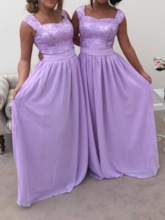 Straps Lace Chiffon A-Line Bridesmaid Dress