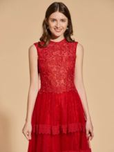 A-Line Jewel Lace Long Prom Dress
