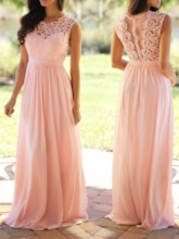 A-Line Lace Scoop Sashes Prom Dress