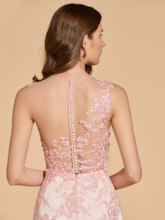 A-Line Scoop Lace Button Beading Prom Dress