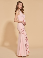 Beading Ruffles Split-Front Scoop Trumpet Evening Dress