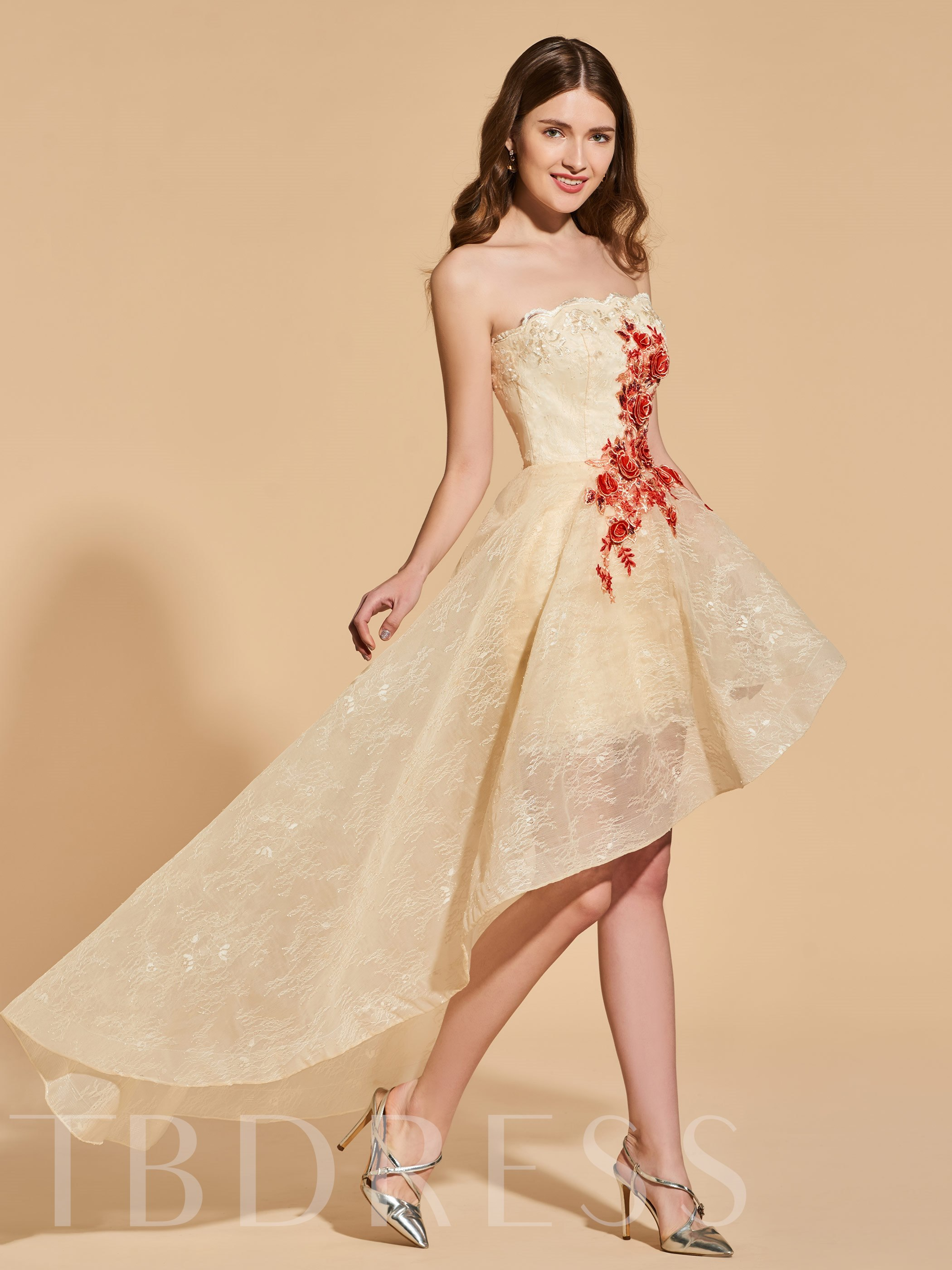 A-Line Lace Strapless Appliques High Low Prom Dress 13161839