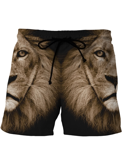 Lion Print Loose Men's Swim Shorts