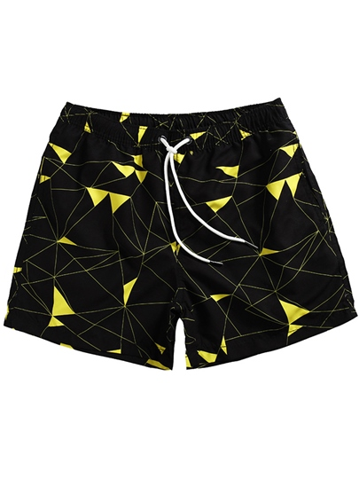 Triangle Print Slim Men's Swim Shorts