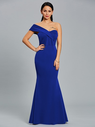 Dark Blue One Shoulder Women's Maxi Dress