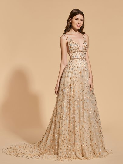 A-Line Empire Lace Beading Prom Dress