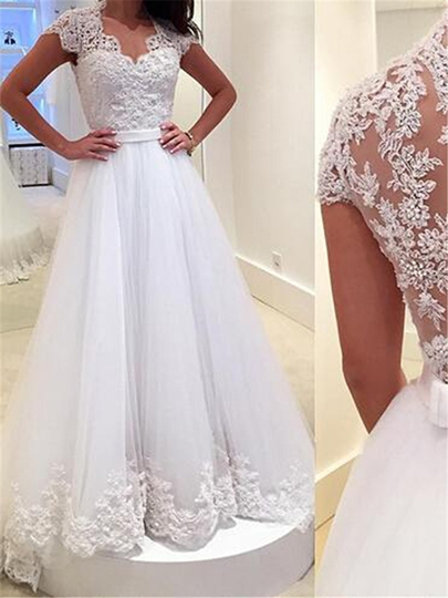 V-Neck Appliques Button Appliques A-Line Wedding Dress