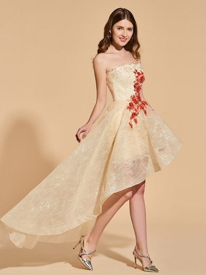 A-Line Lace Strapless Appliques High Low Prom Dress tbdress