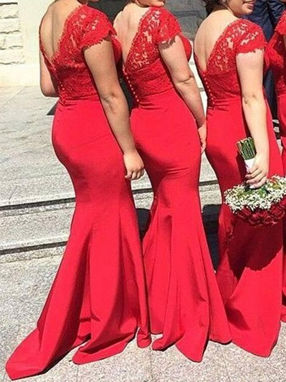 Lace Top Trumpet Red Bridesmaid Dress