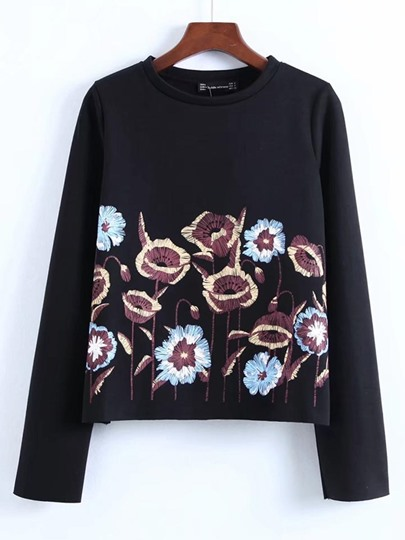 Plain Floral Print Loose Women's Sweatshirt