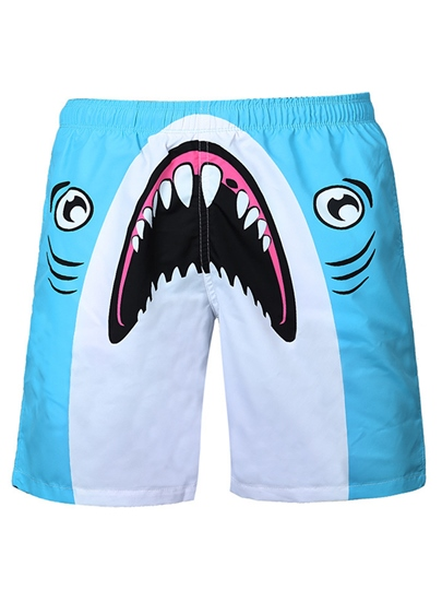 Shark Print Quick Dry Loose Men's Beach Shorts