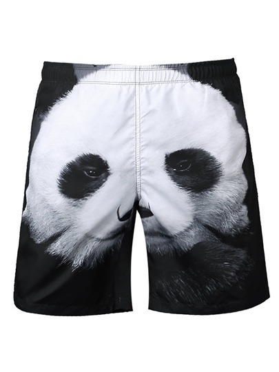 Panda Print Loose Men's Swim Shorts