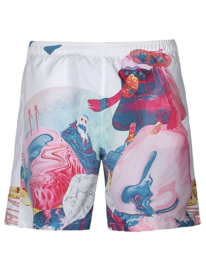 Graphic Print Loose Leisure Men's Swim Shorts