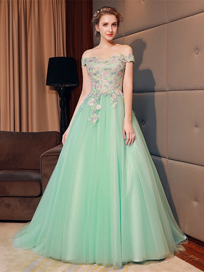 A-Line Off-the-Shoulder Flowers Quinceanera Dress