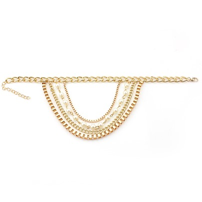 Imitation Pearl Alloy Multilayer Anklet