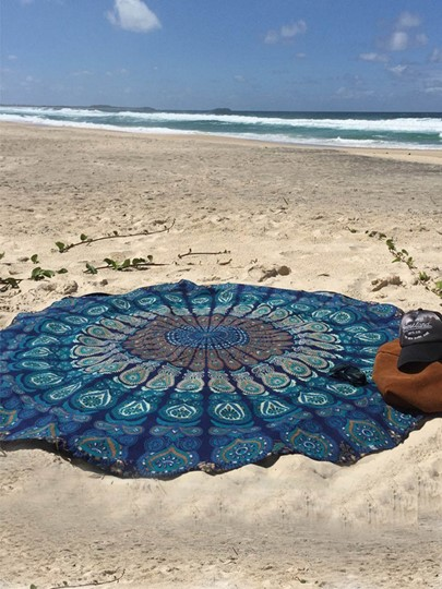 Print Polyester Round Beach Throw