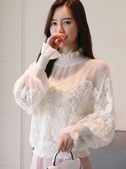 High Collar Pleated Sweet Women's Blouse